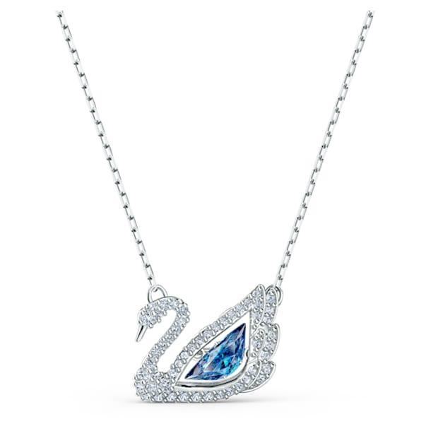 Dancing Swan necklace, Swan, Blue, Rhodium plated - Swarovski, 5533397