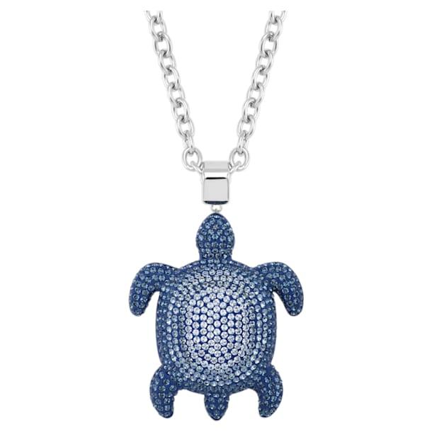 Mustique Sea Life Turtle Pendant, Large, Blue, Palladium plated - Swarovski, 5533737