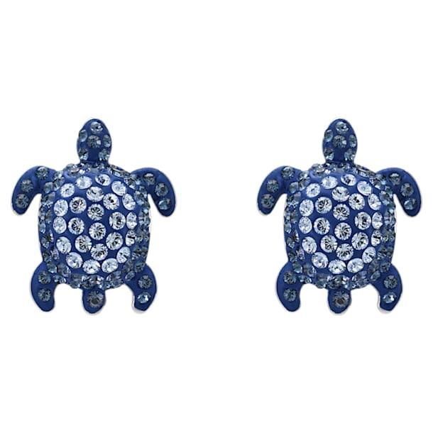 Mustique Sea Life Turtle 穿孔耳环, 蓝色, 镀钯 - Swarovski, 5533748