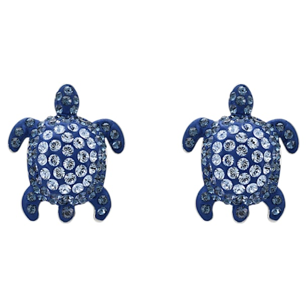 Mustique Sea Life Turtle 이어링, 블루, 팔라듐 플래팅 - Swarovski, 5533748