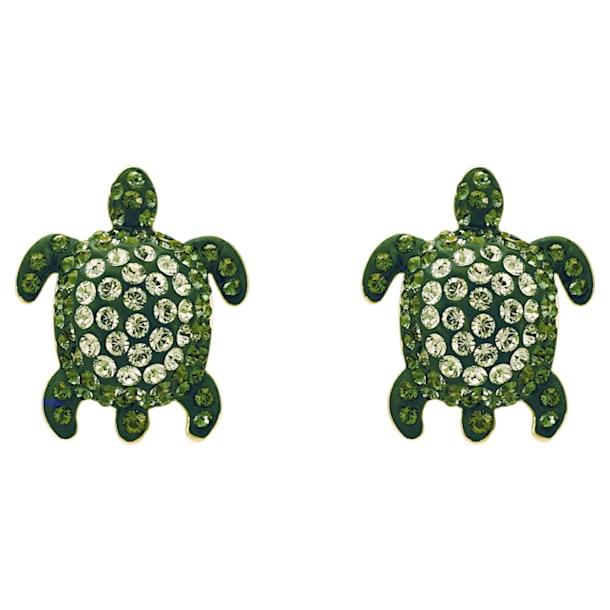Mustique Sea Life Turtle Pierced Earrings, Green, Gold-tone plated - Swarovski, 5533757