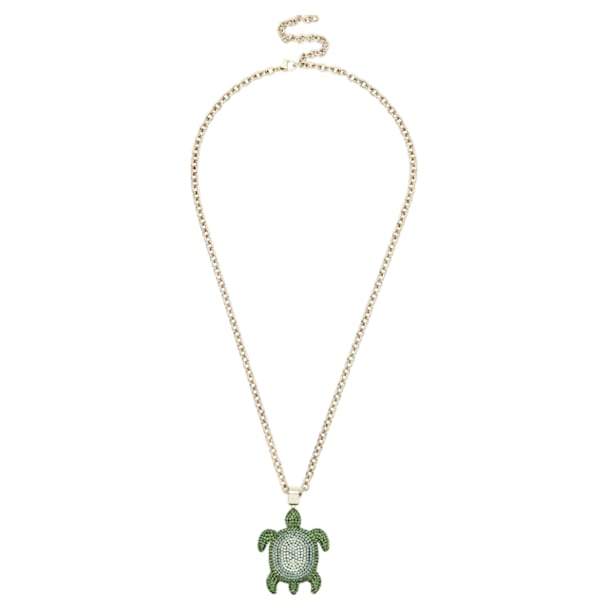 Pendente Mustique Sea Life Turtle, pequeno, verde, banhado a dourado - Swarovski, 5534341