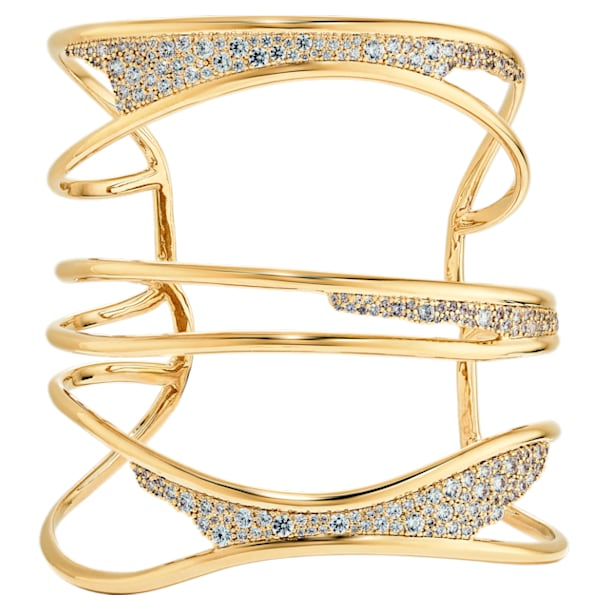Gilded Treasures Bangle, White, Gold-tone plated - Swarovski, 5534424