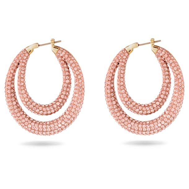 Τρυπητά Σκουλαρίκια Κρίκοι Tigris, ροζ, επιχρυσωμένα - Swarovski, 5534512