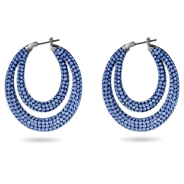 Tigris Hoop Pierced Earrings, Blue, Ruthenium plated - Swarovski, 5534514