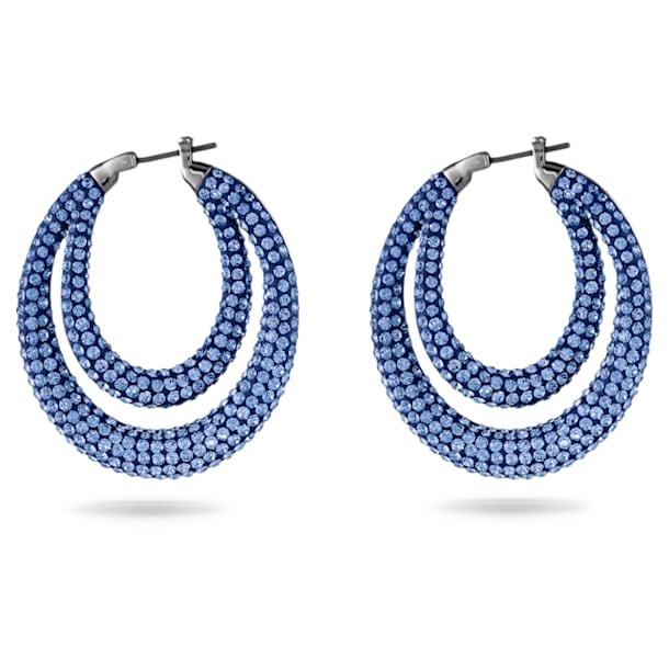 Créoles Tigris, bleu, métal plaqué ruthénium - Swarovski, 5534514
