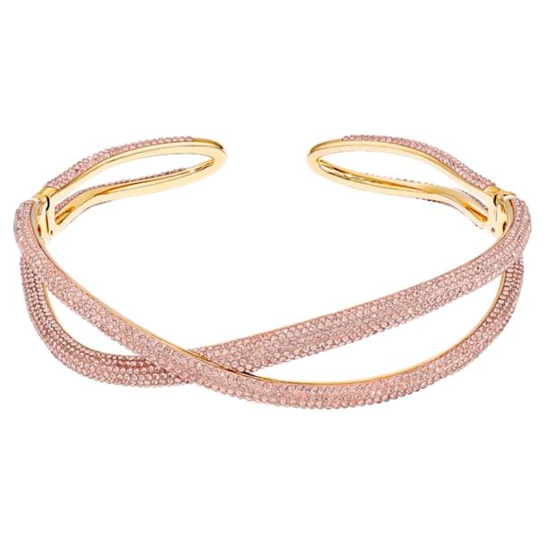 Naszyjnik typu choker Tigris, Różowy, Powłoka w odcieniu złota - Swarovski, 5534515