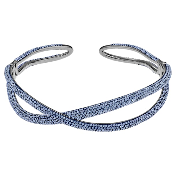 Tigris choker nyaklánc, kék, ruténium bevonattal - Swarovski, 5534519
