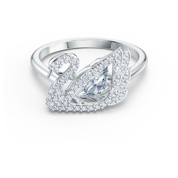 Dancing Swan ring, Swan, Wit, Rodium toplaag - Swarovski, 5534844