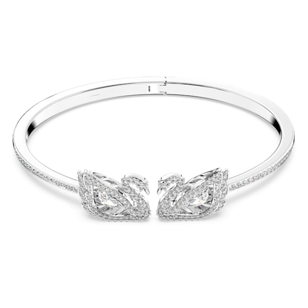 Brazalete Dancing Swan, Cisne, Blanco, Baño de rodio - Swarovski, 5534849