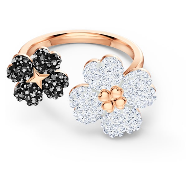 Latisha 戒指, 黑色, 镀玫瑰金色调 - Swarovski, 5534944