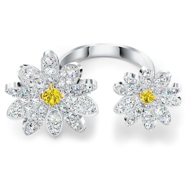 Eternal Flower Разомкнутое кольцо, Цветок, Желтый кристалл, Отделка из разных металлов - Swarovski, 5534947