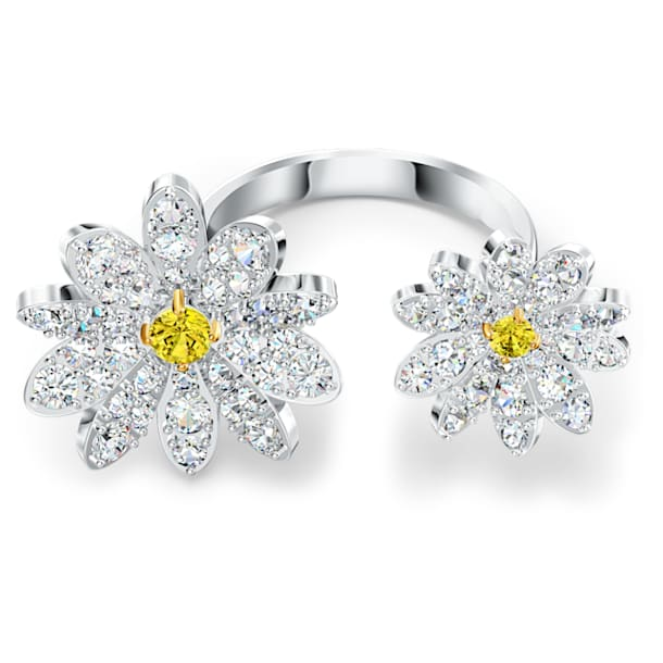 Inel deschis Eternal Flower, galben, finisaj metalic mixt - Swarovski, 5534948