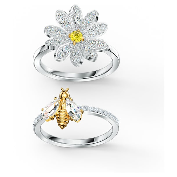 Eternal Flower 戒指套裝, 黃色, 多種金屬潤飾 - Swarovski, 5534949