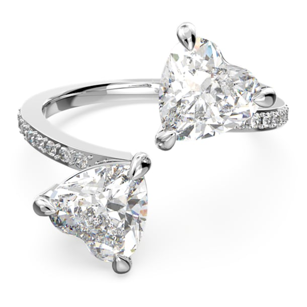 Attract Soul ring, Heart, White, Rhodium plated - Swarovski, 5535193