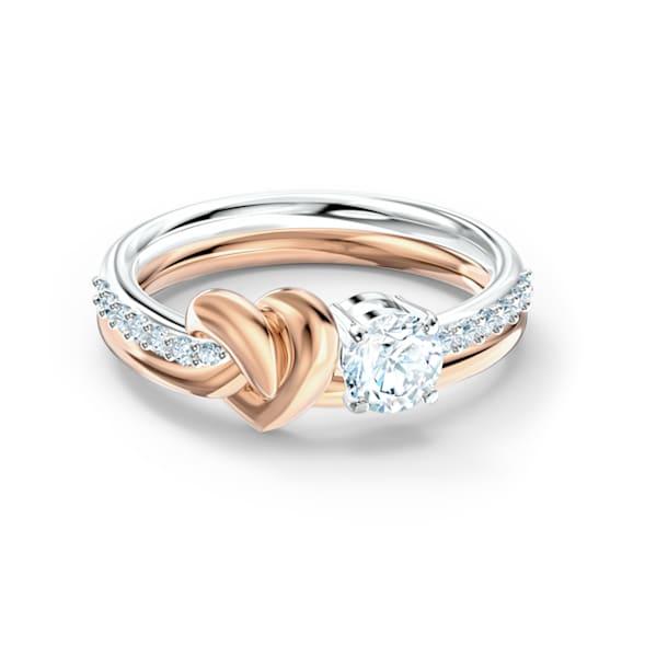 Δαχτυλίδι Lifelong Heart, Καρδιά, Λευκό, Φινίρισμα από διάφορα μέταλλα - Swarovski, 5535406