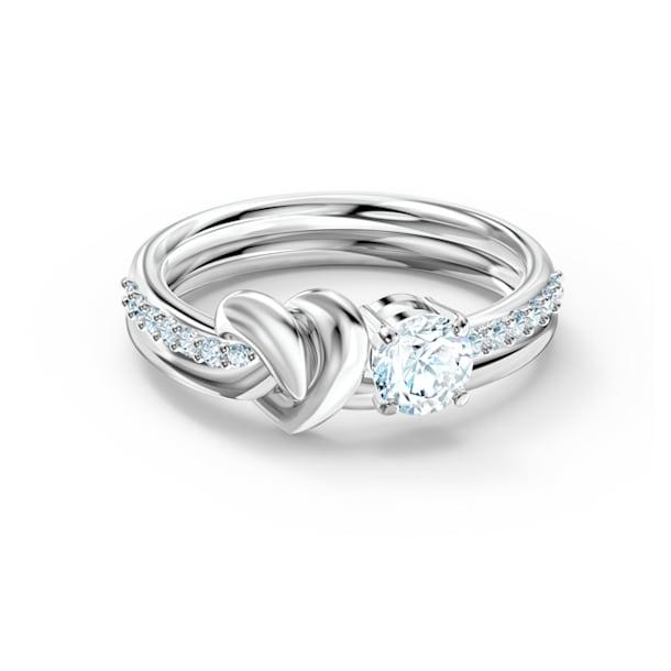Lifelong Heart ring, Heart, White, Rhodium plated - Swarovski, 5535409