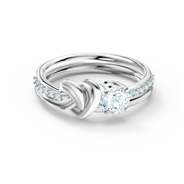 Lifelong Heart 戒指, 心形, 白色, 镀铑 - Swarovski, 5535409