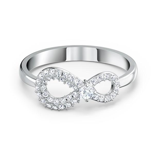 Pierścionek Swarovski Infinity, Nieskończoność, Biały, Powłoka z rodu - Swarovski, 5535410