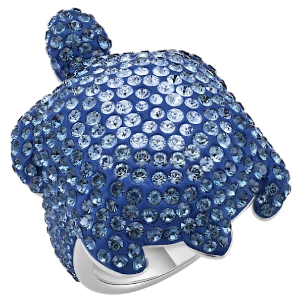Mustique Sea Life Turtle Ring, Large, Blue, Palladium plated - Swarovski, 5535432