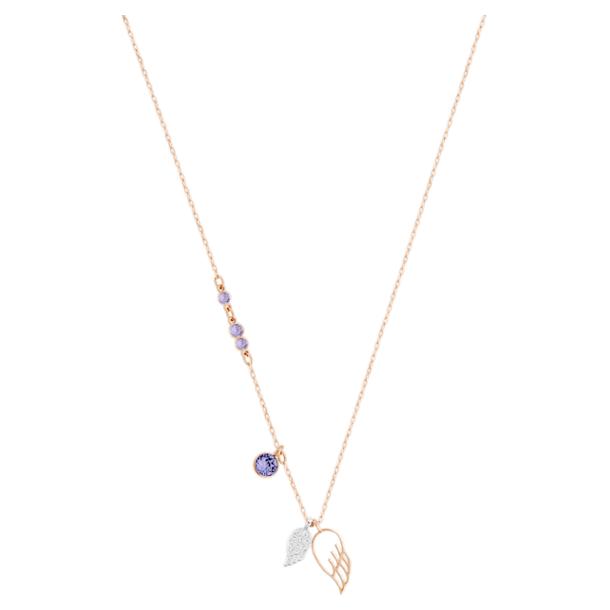 Swarovski Symbolic pendant, Wing, Purple, Rose-gold tone plated - Swarovski, 5535523