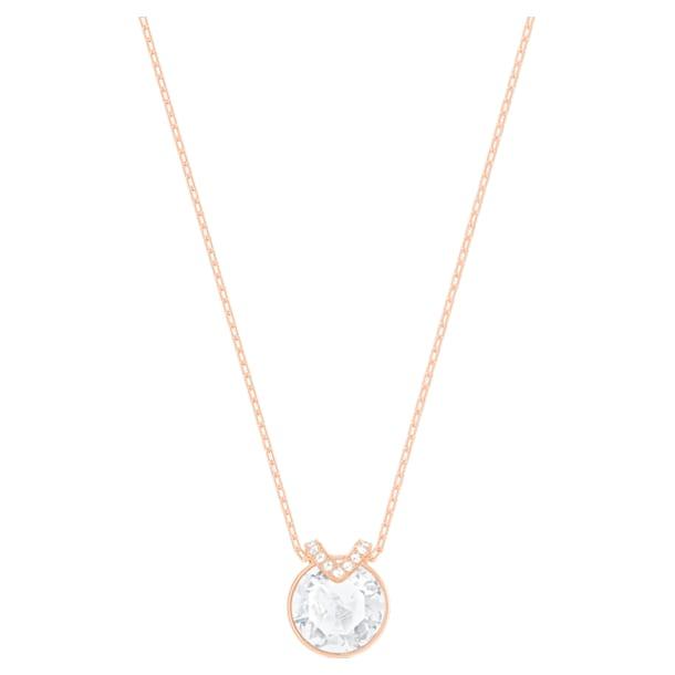 Wisiorek Bella V, Biały, Powłoka w odcieniu różowego złota - Swarovski, 5535528