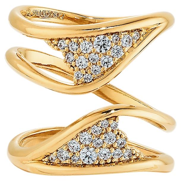 Pozłacany szeroki pierścionek z kolekcji Gilded Treasures, biały, powlekany złotem - Swarovski, 5535550