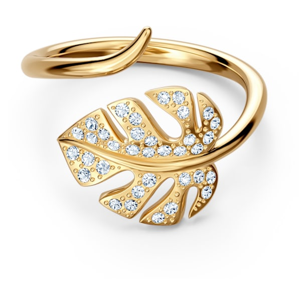Tropical Leaf open ring, Leaf, White, Gold-tone plated - Swarovski, 5535563
