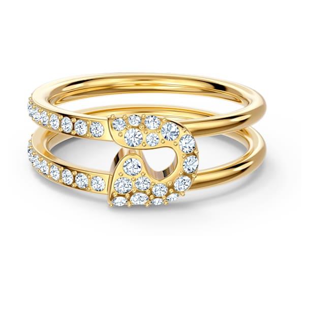 Anel So Cool Pin, branco, banhado a dourado - Swarovski, 5535566