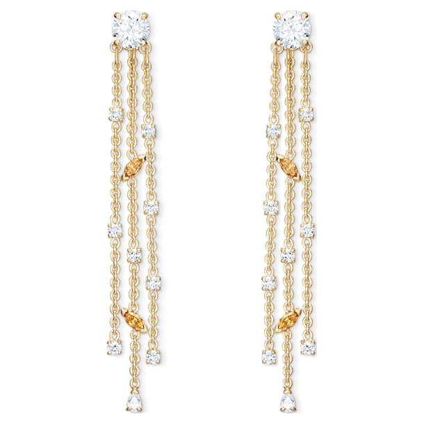 Brincos para orelhas furadas Botanical Tassel, branco, banhados a ouro - Swarovski, 5535791