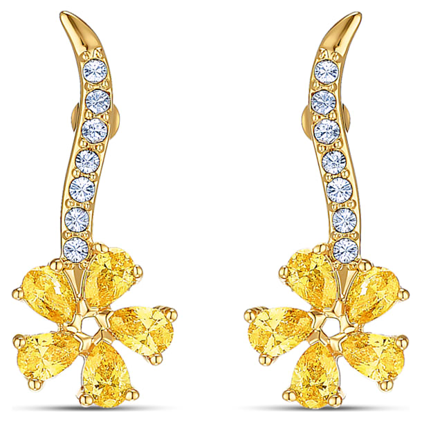 Boucles d'oreilles Botanical Flower, jaune, métal doré - Swarovski, 5535796