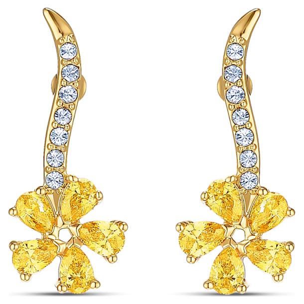 Brincos para orelhas furadas Botanical Flower, amarelo, banhados a dourado - Swarovski, 5535796