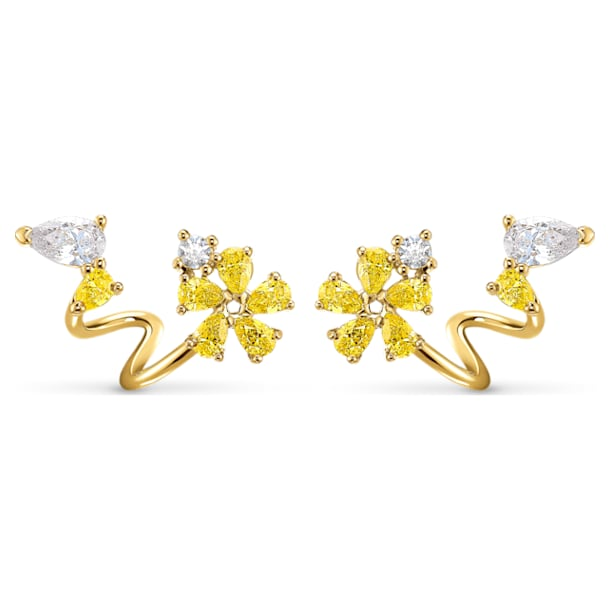 Botanical Wrap Pierced Earrings, Yellow, Gold-tone plated - Swarovski, 5535828