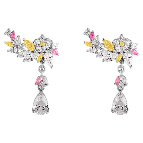 Botanical Pierced Earrings, Light multi-colored, Rhodium Plated - Swarovski, 5535867