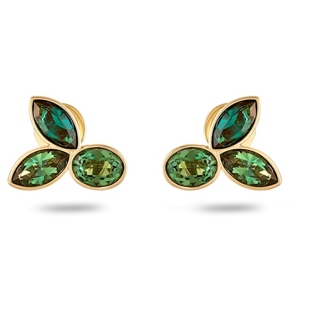 Beautiful Earth by Susan Rockefeller Stud Pierced Earrings, Green, Gold-tone plated - Swarovski, 5535883