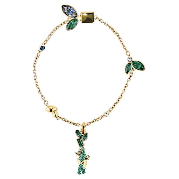 Bamboo-panda-armband, Donker meerkleurig, Goudkleurige toplaag - Swarovski, 5535885