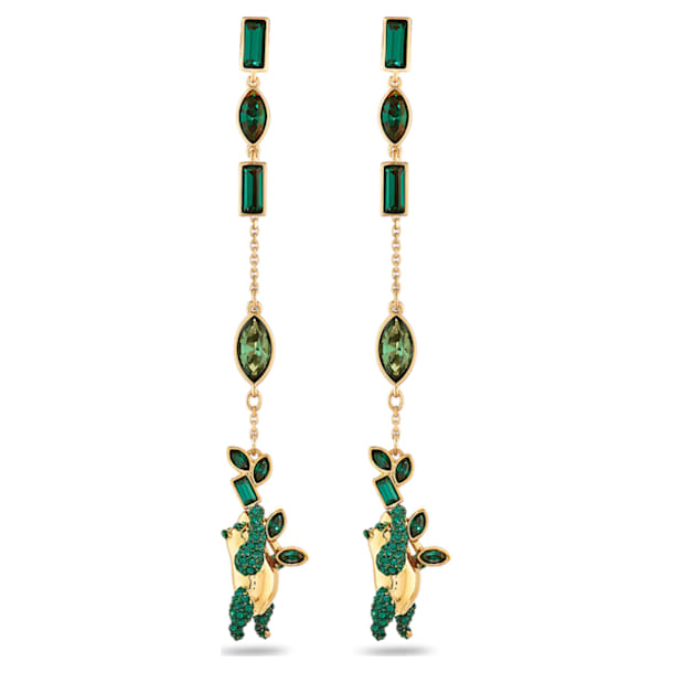 Bamboo-steekoorbellen panda, Groen, Goudkleurige toplaag - Swarovski, 5535886