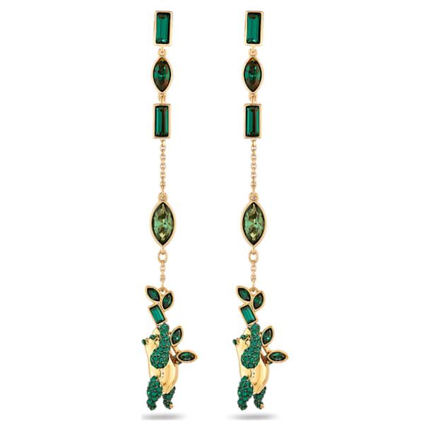 Pendientes Beautiful Earth by Susan Rockefeller, Panda, verde, baño tono oro - Swarovski, 5535886