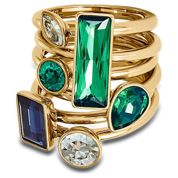 Σετ (6) δαχτυλιδιών Beautiful Earth by Susan Rockefeller, πολύχρωμα σε σκούρους τόνους, επιχρυσωμένα - Swarovski, 5535895