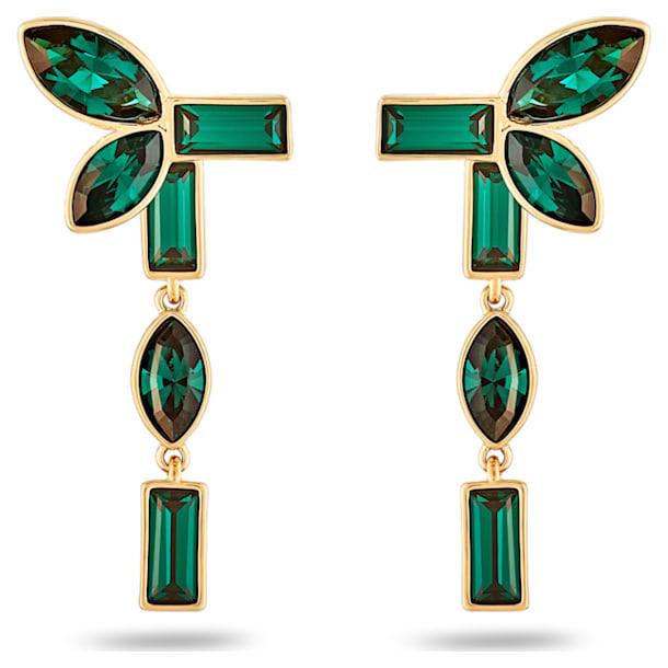 Bambusz bedugós fülbevaló-függesztő, zöld, arany árnyalatú bevonattal - Swarovski, 5535896