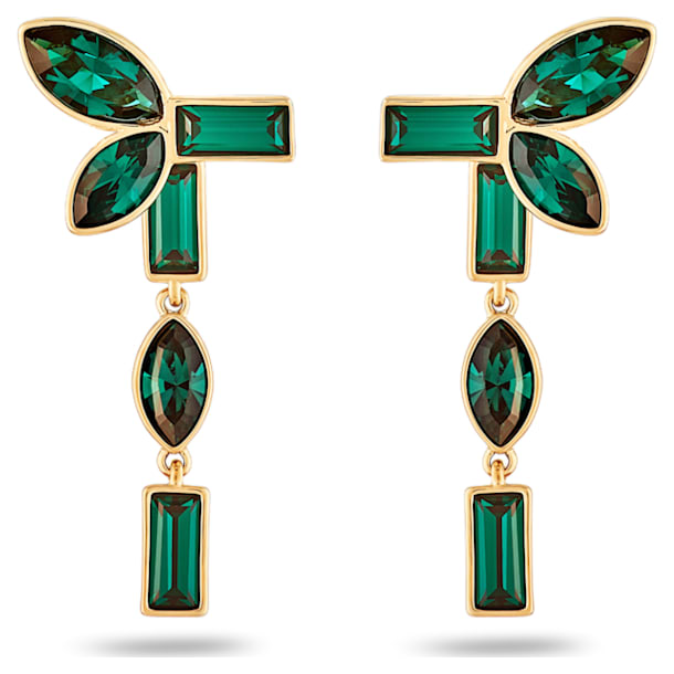 Beautiful Earth by Susan Rockefeller earring jackets, Bamboo, Green, Gold-tone plated - Swarovski, 5535896