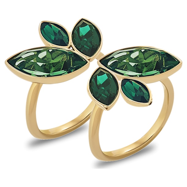 Beautiful Earth by Susan Rockefeller ring, Set (2), Bamboo, Green, Gold-tone plated - Swarovski, 5535898