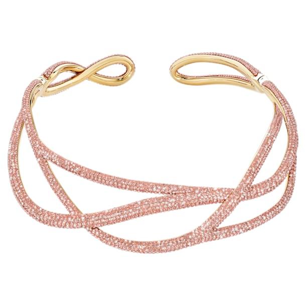 Efektowny naszyjnik typu choker z kolekcji Tigris, różowy, w odcieniu złota - Swarovski, 5535900