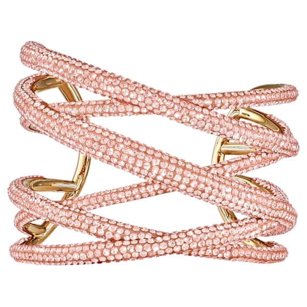 Tigris cuff armband, Roze, Goudkleurige toplaag - Swarovski, 5535901