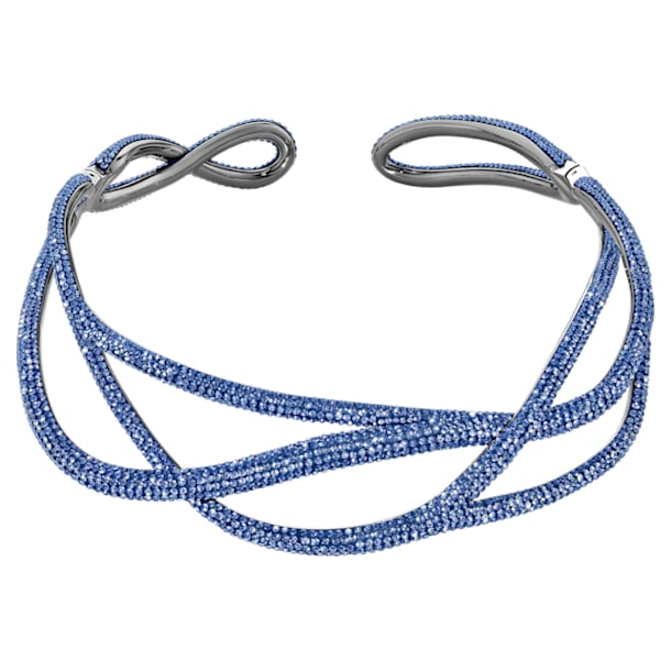 Tigris statement choker nyaklánc, kék, ruténium bevonattal - Swarovski, 5535902