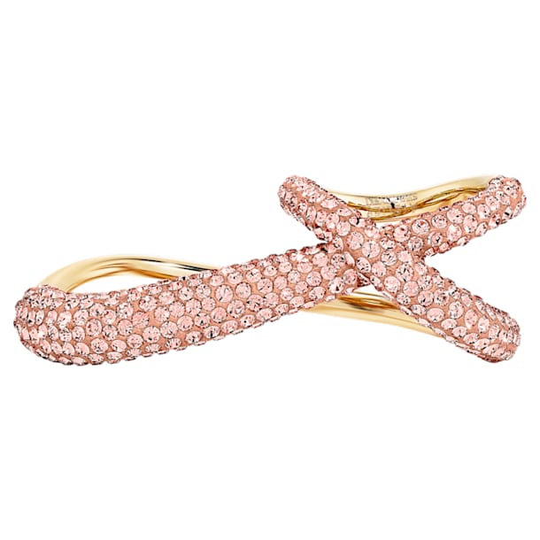 Tigris Double Ring, Pink, Gold-tone plated - Swarovski, 5535907