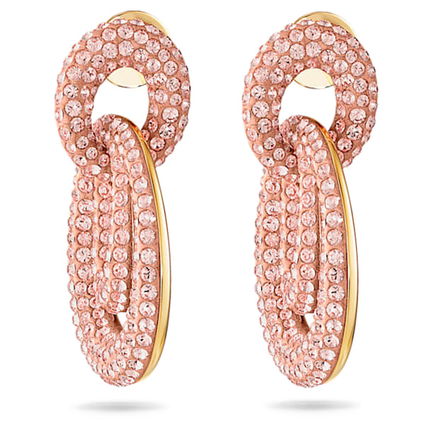 Tigris Pierced Earrings, Pink, Gold-tone plated - Swarovski, 5535908