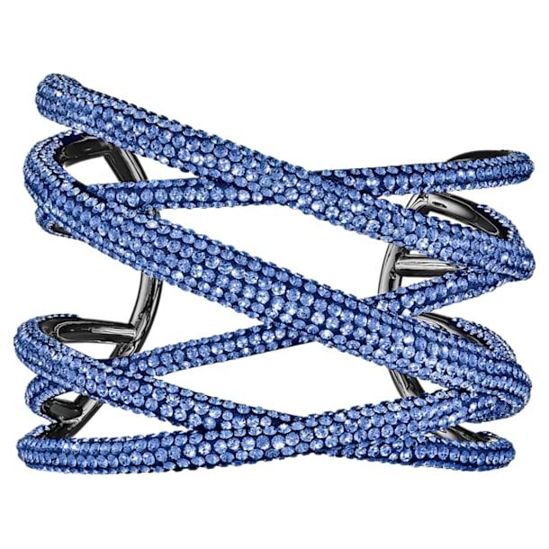 Manchette Tigris, large, bleu, métal plaqué ruthénium - Swarovski, 5535944