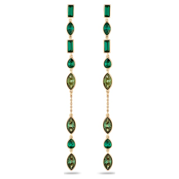 Bambusz hosszú bedugós fülbevaló-függesztő, zöld, arany árnyalatú bevonattal - Swarovski, 5535986