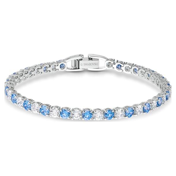 Tennis Deluxe armband, Round, Blauw, Rodium toplaag - Swarovski, 5536469